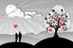 Lovers. With hearts balloon on nature background Stock Photo