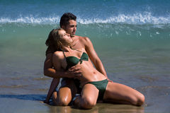 Lovers. Two young lovers on the beach Stock Photo
