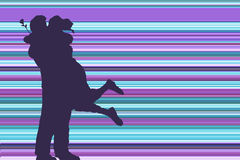 Lovers. Silhouette of couple embracing Royalty Free Stock Photography