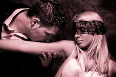 Lovers. Art of seduction, duo tones Royalty Free Stock Photos