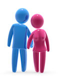 Lovers. Pink and blue figures holding hands. Man and woman in love Royalty Free Stock Photography