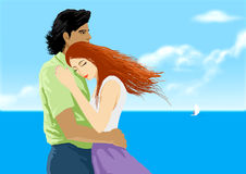 Lovers. In having the background of blue sky ocean Stock Image