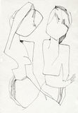 Lovers. Hand drawing picture with the woman´s and man´s figure Royalty Free Stock Photos