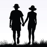 Lovers. Vector silhouette of a couple Stock Photo