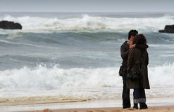 Lovers. Couple hugging on the beach Royalty Free Stock Images