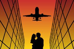 Lovers in Aeroport at sunset. Vector illustration with silhouette of loving couple and flying aircraft . Bright gradient background royalty free illustration