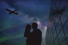 Lovers in airport at night vector illustration