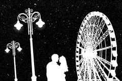 Lovers in amusement park at night vector illustration