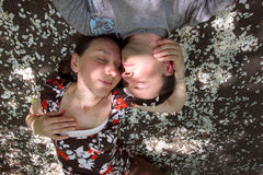 lovers in the apple blossoms stock images