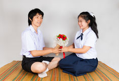 Lovers of Asian Thai High School Students Stock Image
