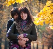 Lovers during autumn Royalty Free Stock Photography
