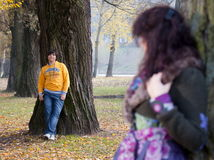 Lovers during autumn Stock Photography