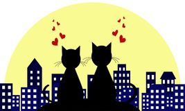 Lovers in the background of a night city. Love. loving cats. Vector illustranion concept. Lovers in the background of a night city. Love. loving cats. Vector Royalty Free Stock Image