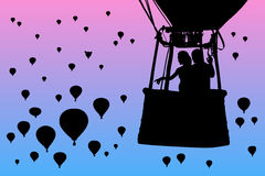 Lovers in balloon at dawn. Vector illustration with silhouette of loving couple under morning sky. Landscape with flying aerostats. Bright gradient background vector illustration
