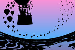 Lovers in balloon at dawn. Vector illustration with silhouette of loving couple under morning sky. Landscape with hot air balloons flying over rivers and lakes royalty free illustration