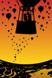 Lovers in balloon at sunset. Vector illustration with silhouette of loving couple under evening sky. Landscape with hot air balloons flying over rivers and lakes stock illustration