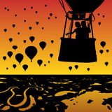 Lovers in balloon at sunset. Vector illustration with silhouette of loving couple under evening sky. Landscape with hot air balloons flying over rivers and lakes vector illustration