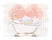 Lovers in the bath. Vector illustration. Royalty Free Stock Images