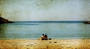 Lovers on the beach stock image