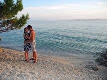 Lovers on the beach. Lovers on the beach Basko Polje, Croatia royalty free stock photos