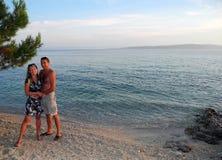 Lovers on the beach. Lovers on the beach Basko Polje, Croatia stock image
