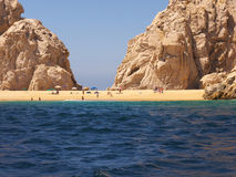 Lovers Beach  at Cabo Baja Mexico. The so called Lovers Beach is located on a rocky promontory having access to both the Sea of Cortez, in front and to the Stock Image