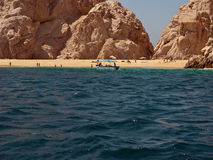 Lovers Beach  at Cabo Baja Mexico. Many tourists come to Lovers Beach. The so called Lovers Beach is located on a rocky promontory having access to both the Sea Royalty Free Stock Photography