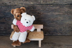 Lovers bear and red chocolate heart. Royalty Free Stock Image