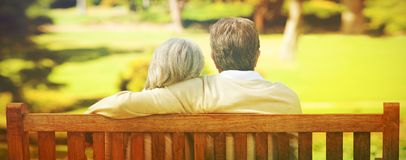 Lovers on the bench royalty free stock photos