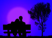 Lovers on the bench Stock Photo