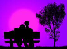 Lovers on the bench Stock Photography