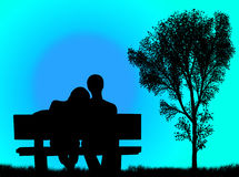 Lovers on the bench Royalty Free Stock Photography
