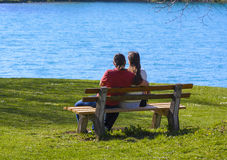 Lovers on a bench Royalty Free Stock Images
