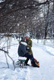 Lovers on a bench in winter Stock Image