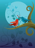Lovers birdie. Two birds sitting on a branch in the night garden Royalty Free Stock Photography