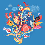 Lovers of birds on the flowers. Graphics little birds in love on the fabulous colors on a dark blue background Royalty Free Stock Image