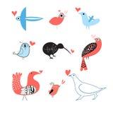 Lovers of birds set. Funny bird lovers set on white background Stock Image