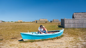 Lovers in a boat Royalty Free Stock Photos