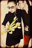 Lovers with  bouquet of tulips Royalty Free Stock Photos