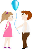 Lovers a boy and a girl with a balloon Royalty Free Stock Images