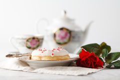 Lovers breakfast for valentines day Royalty Free Stock Photography