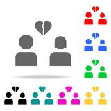 Lovers breakup glyph icon. Elements in multi colored icons for mobile concept and web apps. Icons for website design and developme stock illustration