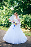 Lovers bride in summer Park Royalty Free Stock Images