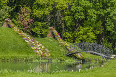 Lovers bridge in Botanical Garden Craiova, Romania. Bridge lovers near the ornamental spring flowers that are flowing out from a basket of twigs in Botanical Stock Image