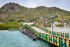 Lovers bridge connecting Santa Catalina and Providencia, Colombia. Providencia is an island outside the coast of Nicaragua that belongs to Colombia. A remote and Royalty Free Stock Images