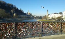 Lovers Bridge Salzburg. Austria. Bridge with locks. Heart shaped. Lovers names Royalty Free Stock Photo