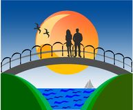 Lovers on a bridge Royalty Free Stock Image
