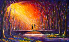 Lovers on bridge in woods at night. Romantic rays on lovers. Love. Romance. Secret love - colorful  painting art. Original oil painting Lovers on bridge in Stock Images