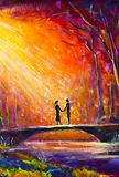 Lovers on bridge in woods at night. Romantic rays on lovers. Love. Romance. Secret love - colorful  painting art. Stock Photography