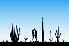 Lovers between cactuses in park royalty free illustration